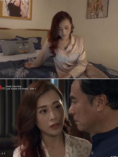 Phong cách của Phương Oanh trong Hương vị tình thân khác biệt so với lúc cô đóng vai Thiên Trang ở Lựa chọn số phận. Trong bộ phim này, người đẹp chọn lựa trang phục phù hợp với hình ảnh tiểu thư nhà giàu. Đồ ngủ của cô cũng có chất liệu lụa bóng nhưng thường là kiểu dáng dài tay lịch sự.