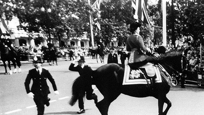 Tiếng súng khiến con ngựa của Nữ hoàng suýt chồm lên vào lễ diễu binh năm 1981. Ảnh: @BritishHistorym