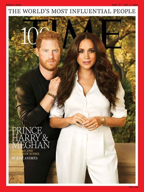 Hoàng tử Harry và vợ Meghan Markle trên bài tạo chí Time.