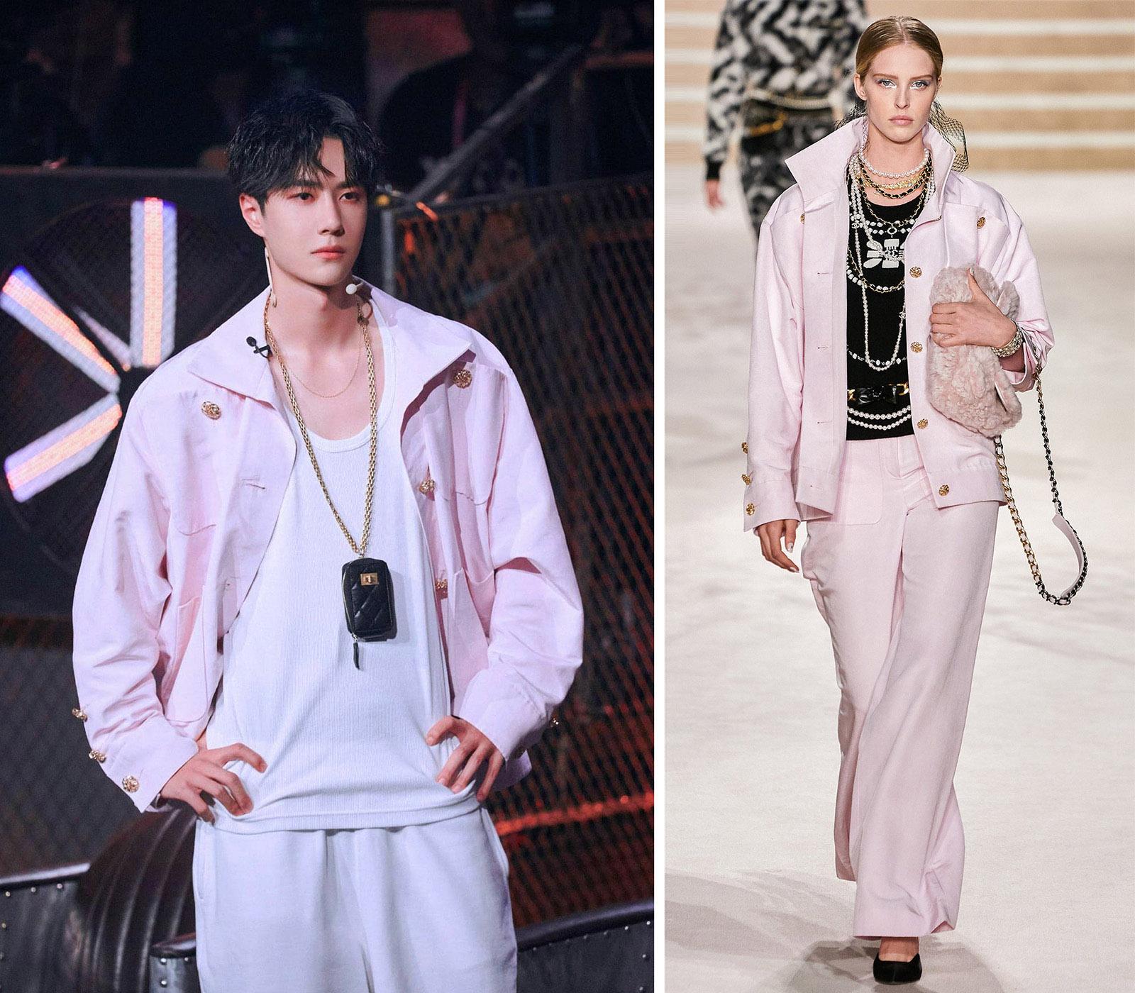 Trong chương trình Street Dance of China, Vương Nhất Bác tạo điểm nhấn cho phong cách bằng mẫu áo khoác hồng thuộc bộ sưu tập Chanel Pre-Fall 2020.