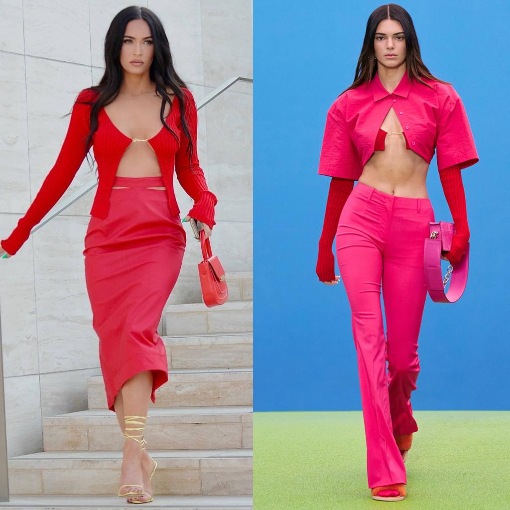 Đi theo xu hướng đang gây bão này, hãng Jacquemus tạo nên cơn sốt khi tung ra mẫu áo cardigan với phần nối vạt chính là logo của thương hiệu. Megan Fox nổi bật trên đường phố với thiết kế áo đỏ che vòng một hờ hững, đã được Kendall Jenner giới thiệu trên sàn diễn Jacquemus Thu Đông 2021.