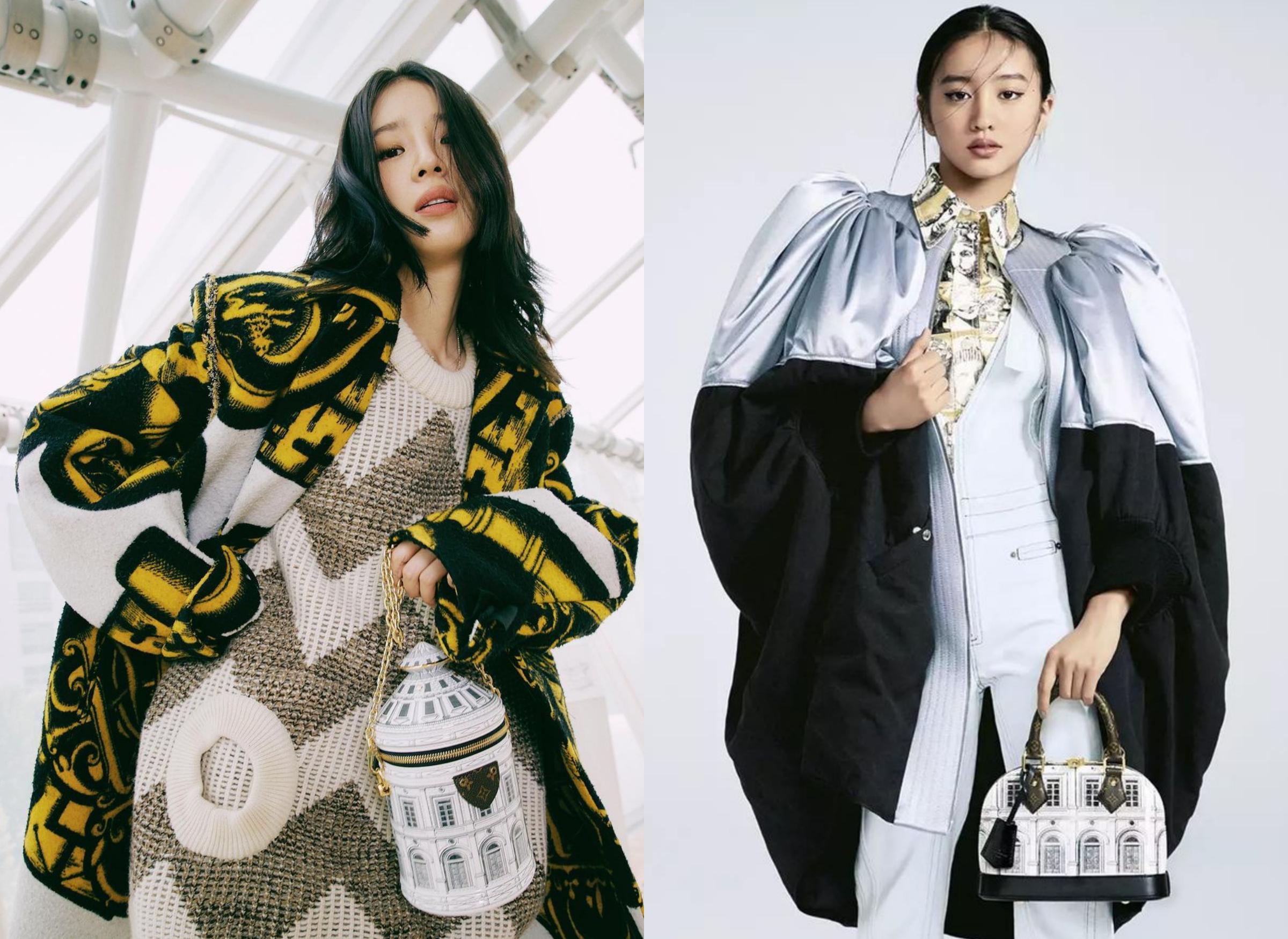 Irene Kim (trái) - fashionista Mỹ gốc Hàn - khoe phong cách cá tính với túi Thu Đông 2021. Trong khi đó người mẫu Koki tạo dáng với loạt túi in bức họa nổi tiếng của Fornasetti. Ảnh: Instagram Ireneisgood, Koki