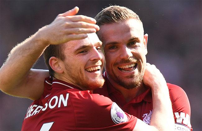 Bộ đôi cầu thủ Andy Robertson (trái) và Jordan Henderson của Liverpool. Ảnh: the42