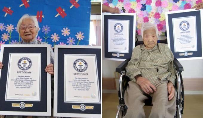 Hại cụ bà nhận chứng nhận ở hai viện dưỡng lão cách nhau 300 km. Ảnh: Kỷ lục Thế giới Guiness
