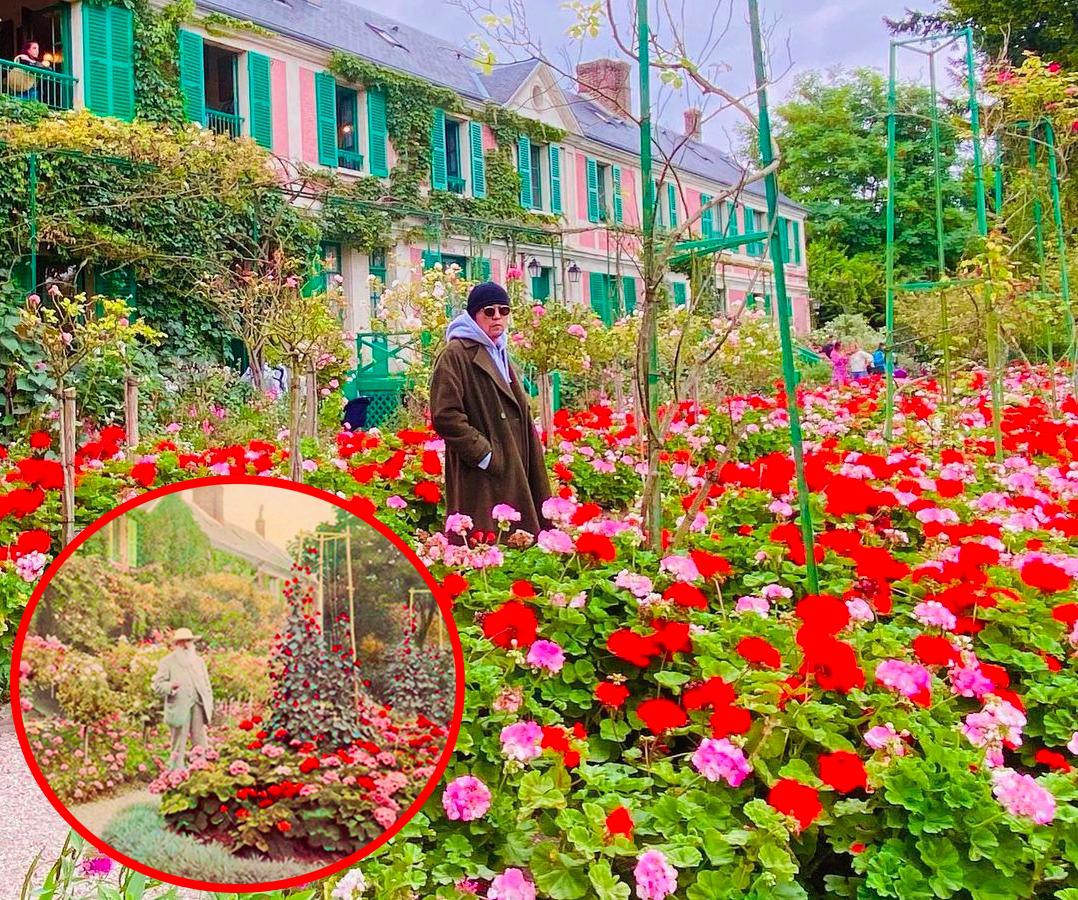 Châu tổng còn check in cùng địa điểm với thần tượng tại vườn Monet (Giverny, Pháp) và không quên cosplay dáng chụp y chang. Nam ca sĩ Đài Loan chia sẻ: Fan thường thích tới những nơi tôi từng đến, chụp ảnh và đăng tải những tấm hình giống hệt. Giờ tới lượt tôi làm công việc này. Lần này, nhìn tôi giống như đang hoà mình vào bức trang của Monet vậy,