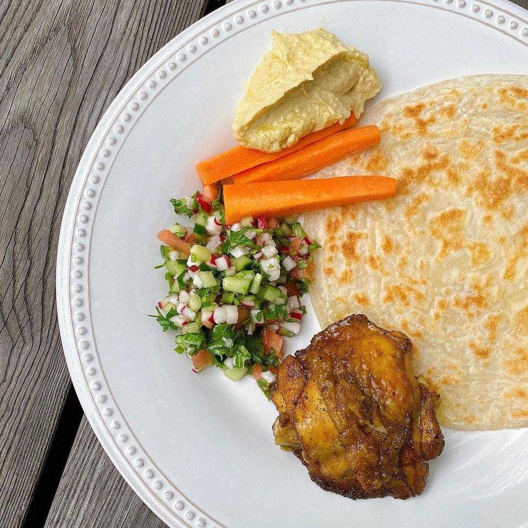 turmeric chicken + Lebanese salad + garlic hummus + paratha