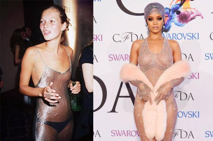 Váy mặc như không của Kate Moss và Rihanna.