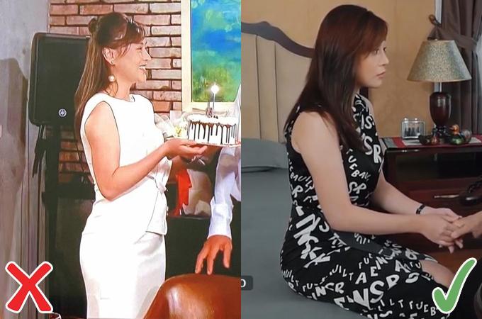 Khi diện váy đen, Phương Oanh trông thon gọn hơn so với lúc mặc váy trắng có chi tiết nơ đính to bản ở phần eo, làm vòng hai trông càng thiếu đường cong.