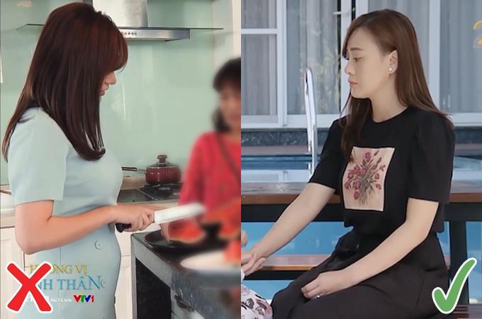 Chân váy xòe dáng chữ A giúp Phương Oanh nhận được nhiều lời khen với diện mạo đơn giản nhưng hợp dáng, hợp mốt.