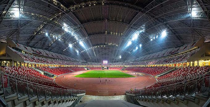 SVĐ Quốc gia Singapore, nơi diễn ra các trận đấu của bảng A và các lượt trận bán kết, chung kết AFF Cup 2020. Ảnh: IPW