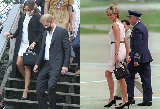 Meghan xách mẫu túi Dior ở sự kiện hôm 25/9 (trái) và Diana ở Argentina năm 1996 (phải). Ảnh: DM/Tim Graham