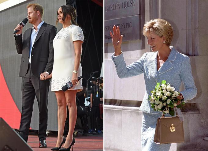 Vợ chồng Harry - Meghan nắm tay trên sân khấu Wokestock ở Công viên Trung tâm hôm 25/9 (trái) và Diana đeo đồng hồ Cartier bằng vàng trong sự kiện của British Lung Foundation năm 1997. Ảnh: Global Citizen/Tim Graham