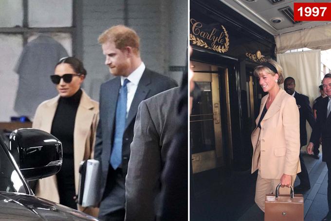 Vợ chồng Meghan rời khách sạn Carlyle ở New York chiều 23/9 (trái) và Diana đến khách sạn này năm 1997 (phải). Ảnh: Backgrid/Tim Rooker