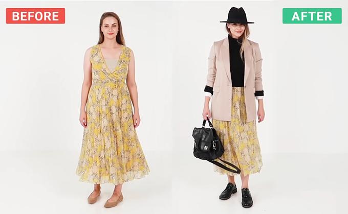 Đủ cách mix một chiếc váy hè cho mùa thu - 4