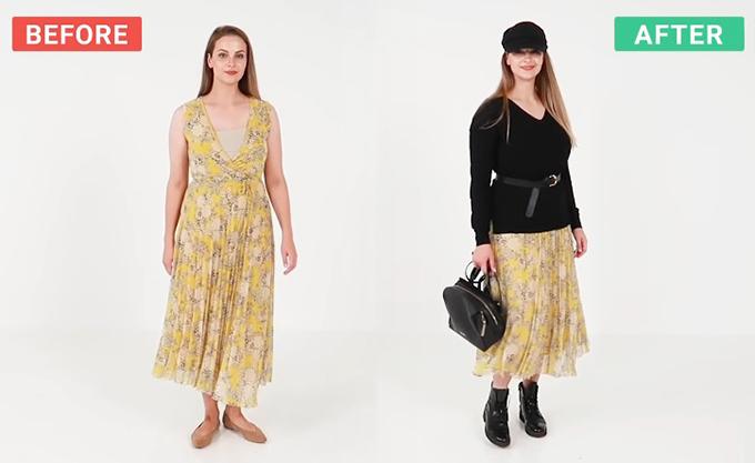 Đủ cách mix một chiếc váy hè cho mùa thu - 5