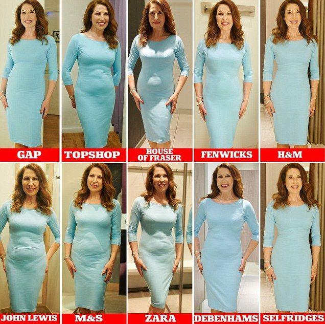 Các cửa hàng thời trang thường bố trí gương, rèm trong phòng thay đồ có độ tương phản cao, giúp che giấu nhược điểm tốt. Diện cùng một trang phục, người phụ nữ ngắm gương ở 10 thương hiệu khác nhau, đem đến hiệu ứng khác biệt về vóc dáng.