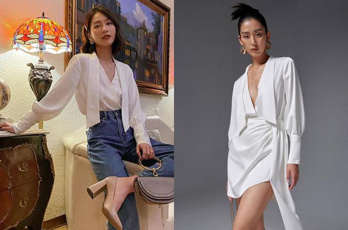 Một chiếc váy khác của thương hiệu Việt cũng được Khả Ngân diện như áo để mix với quần jeans. Từ phom dáng sexy, chỉ hợp để đi tiệc ban đầu, bộ đầm giá 1.550.000 đồng có tính ứng dụng hơn hẳn.