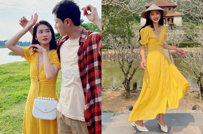 Diện bộ đầm giá 650.000 đồng, Khả Ngân để lại ấn tượng trong phân cảnh chạy dưới mưa lãng mạn như phim Hàn cùng Thanh Sơn (vai Đăng).