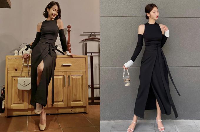 Nhờ thân hình mảnh mai, Khả Ngân mặc set váy đen cut-out ở tay lạ mắt đẹp không kém người mẫu. Với khoảng 1.200.000 đồng, các chị em cũng có thể sở hữu mẫu váy tương tự.