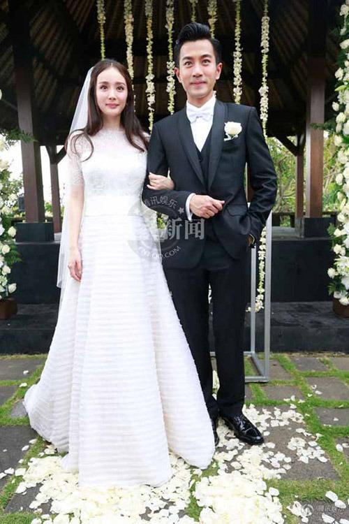 Lưu Khải Uy và Dương Mịch ngày cưới. Ảnh: Wswed