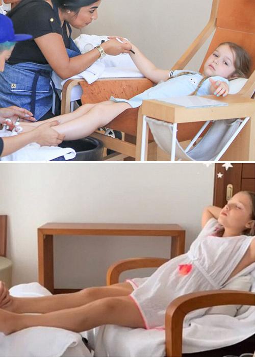 Từ khi còn nhỏ, Harper đã thường xuyên theo mẹ đến các trung tâm chăm sóc sắc đẹp. Việc đi massage, làm móng như các quý cô không còn lạ lẫm với sao nhí.