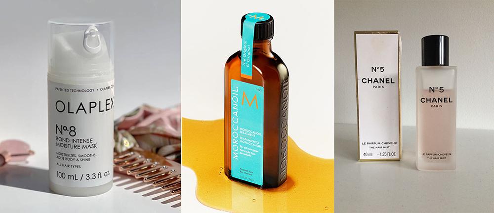 Một số sản phẩm chăm sóc tóc trong chu trình hiện tại của Phương Linh. Từ trái qua phải: mặt nạ dưỡng, dầu dưỡng, nước hoa tóc.