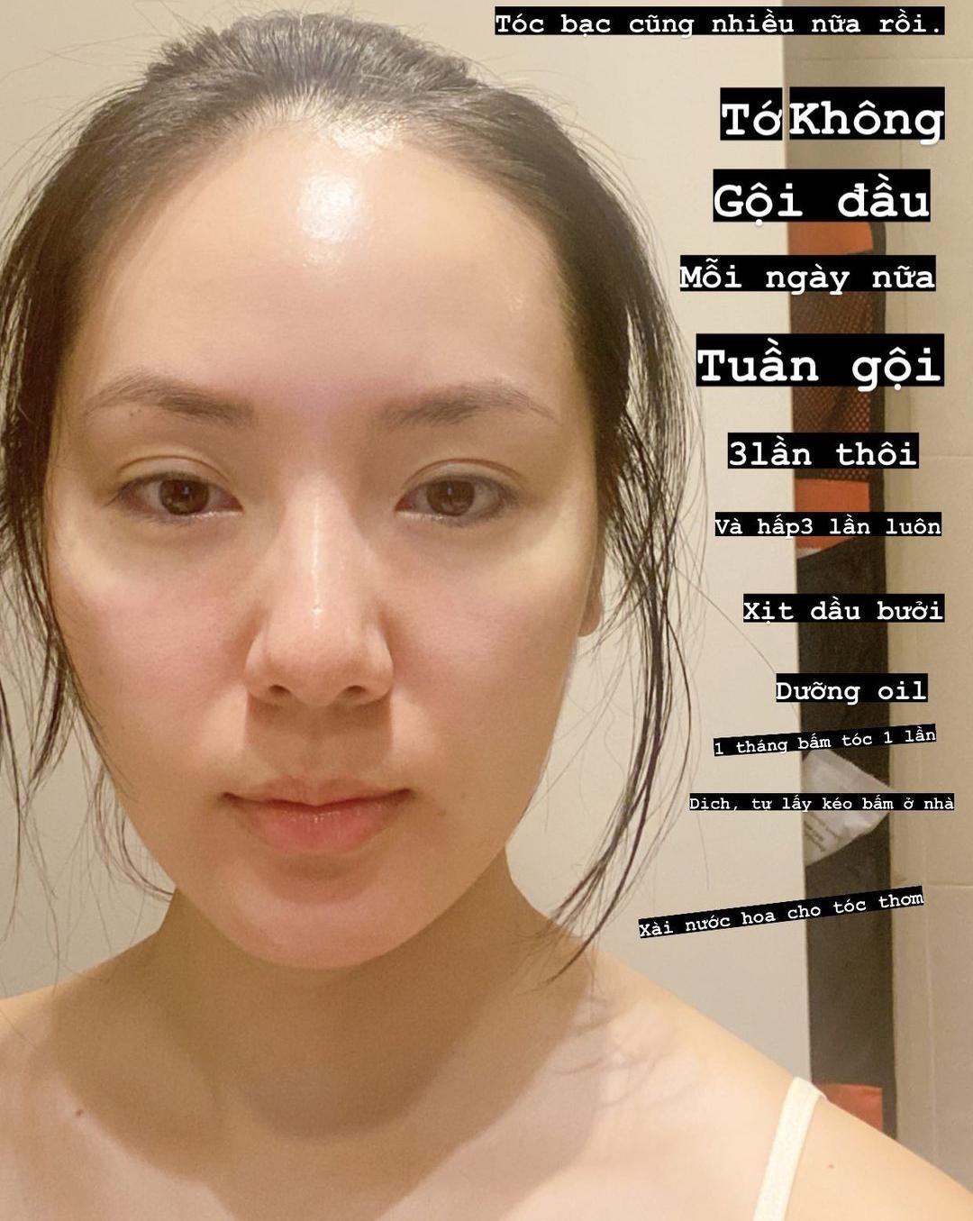 Phương Linh khoe mái tóc đã mọc dài hơn nhờ chăm sóc kỹ lưỡng.
