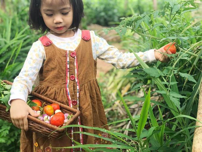 Bé Khánh Hà thu lượm rau củ với set đồ vintage được mẹ phối hợp ăn ý giữa váy nhung và áo thun dài tay.