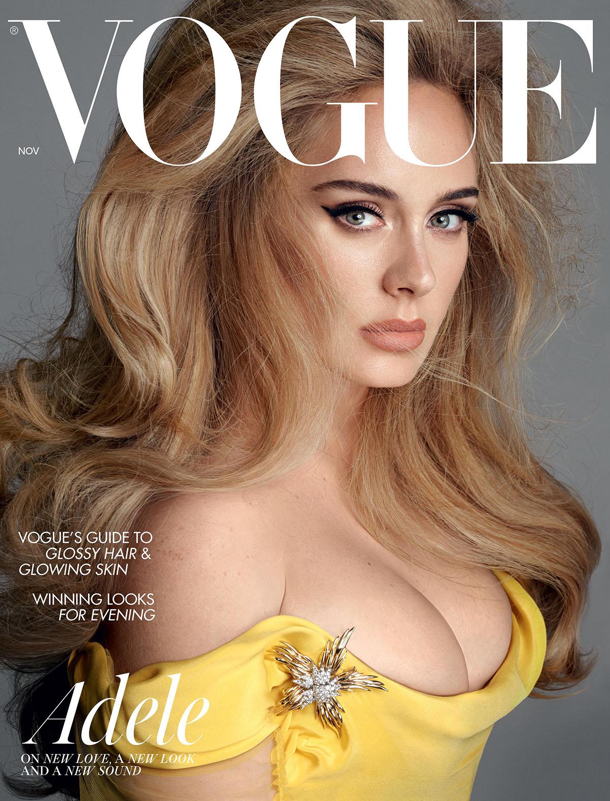 Adele mặc đầm Vivienne Westwood Haute Couture thiết kế riêng, đeo trang sức Tiffany & Co. trên bìa Vogue Anh số tháng 11.