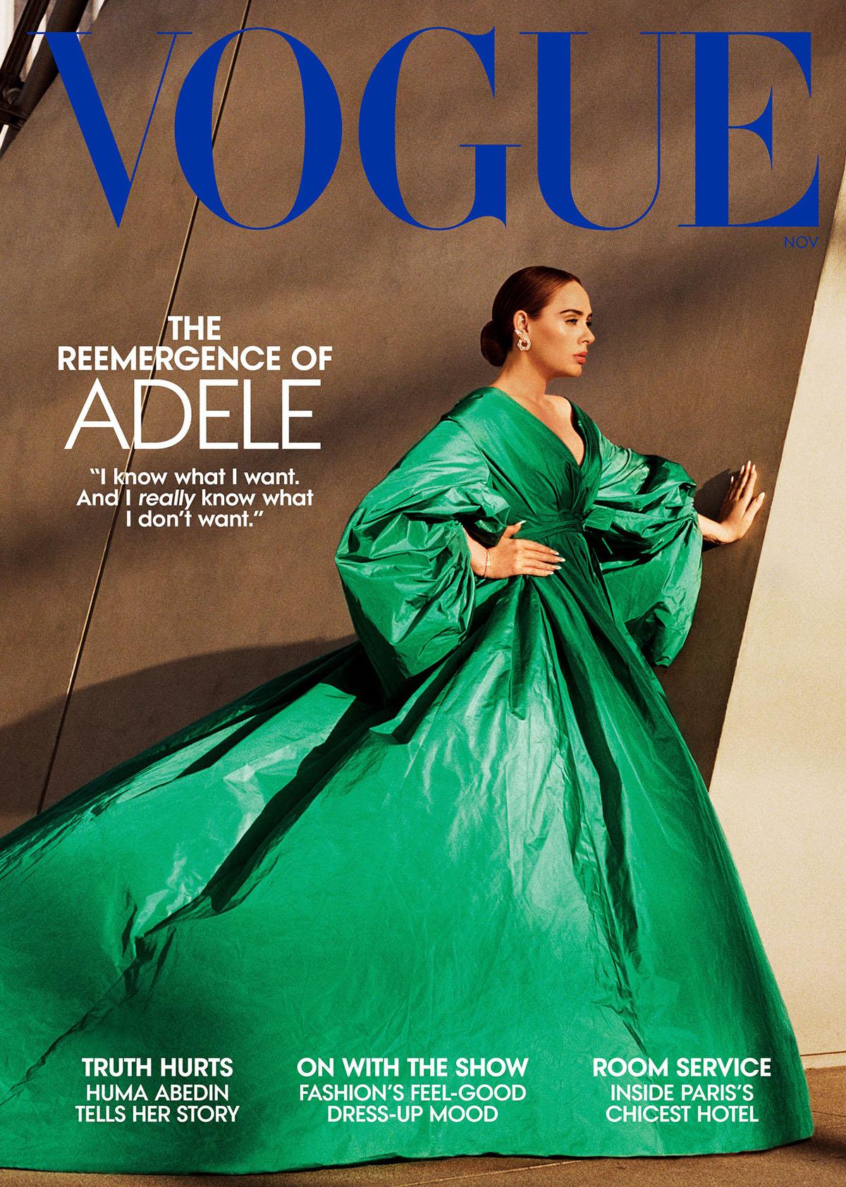 Còn với bìa Vogue Mỹ, ngôi sao 33 tuổi diện tác phẩm Valentino Haute Couture, kết hợp bông tai Cartier.