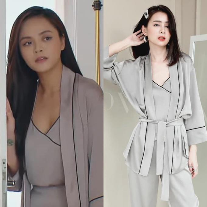 Cách diện pyjama theo set kèm áo choàng thể hiện rất rõ tính cách tiểu thư của Thy. Giá mỗi set trang phục này là 799.000 đồng.