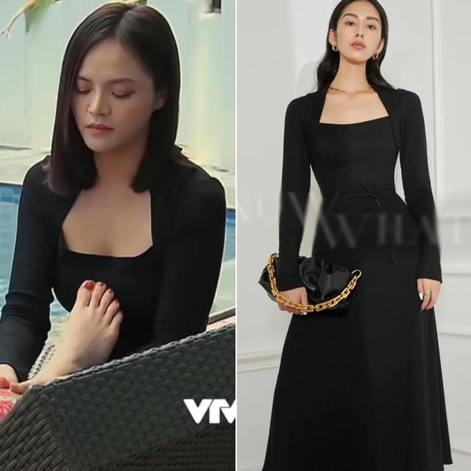 Với chiều cao 1,69 m cùng vóc dáng đẹp, Thu Quỳnh thích những bộ cánh ôm dáng, tôn lên hình thể. Mẫu váy đen khoét ngực rất phù hợp với dáng vẻ thanh thoát của diễn viên. Để sở hữu item này, các cô gái phải chi 799.000 đồng.
