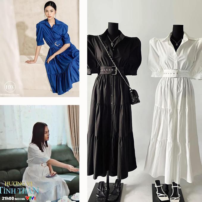 Mẫu váy trắng kèm thắt lưng giá chưa đến 1 triệu đồng mang đến cho Thu Quỳnh vẻ nữ tính theo style Hàn Quốc.