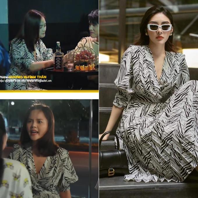 Trong phân cảnh đi đánh ghen với tiểu tam, Thu Quỳnh mặc đầm dập ly, cổ đắp chéo từ một thương hiệu Việt, giá 925.000 đồng.