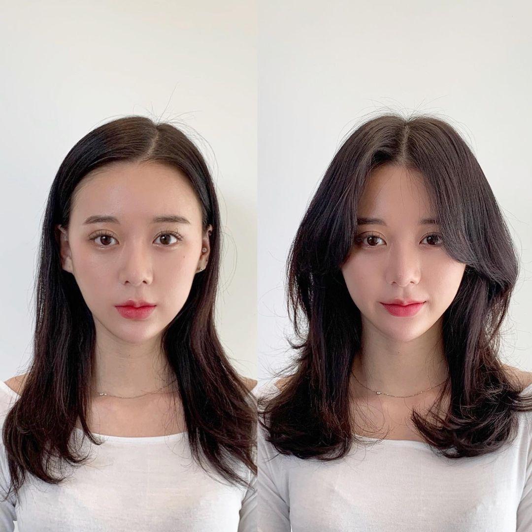 Tóc mái có tác dụng rõ rệt đến nhan sắc của các chị em. Để giúp gương mặt trông thon nhỏ, cân đối hơn, mái bay uốn bồng bềnh như mốt của các cô gái Hàn Quốc là một gợi ý đáng thử.