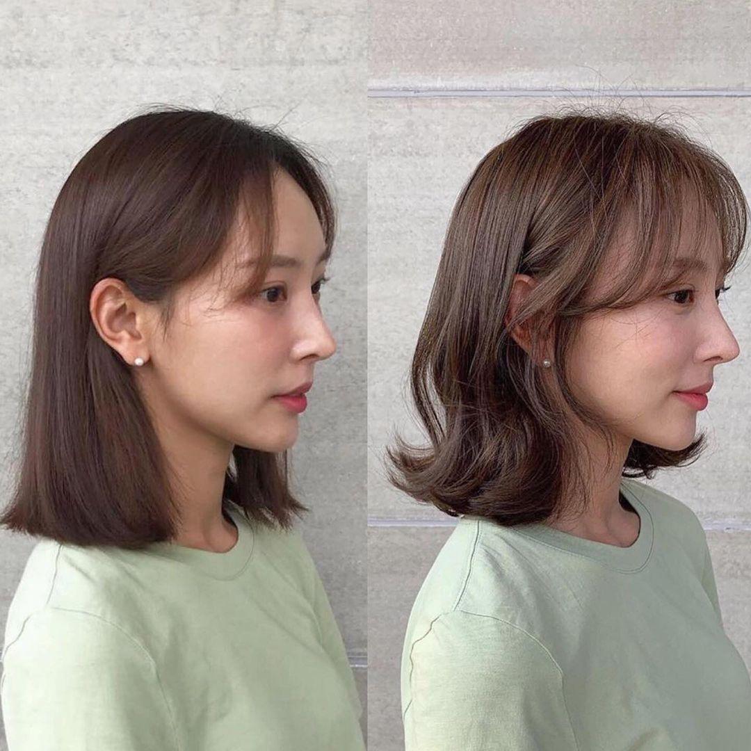 Cùng một kiểu tóc, khi chăm chút cho phần tóc mái với độ cong hợp lý, tỉa độ dài ôm theo xương gò má và vành tai giúp nâng tầm nhan sắc.