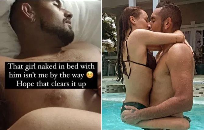 Bạn gái đăng ảnh Kyrgios đang ngủ cạnh một cô gái khác không phải mình (trái). Ảnh: Instagram Passari