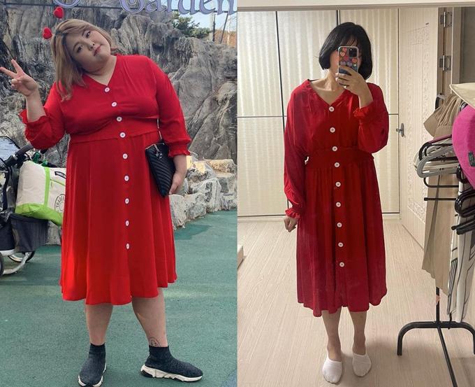 Từ năm 2019, thánh ăn Hàn Quốc quyết định bước vào hành trình giảm cân khốc liệt để cải thiện ngoại hình và sức khỏe. Nhờ chế độ ăn kiêng và tập luyện nghiêm ngặt, đến nay Soo Bin đã giảm được hơn 55 kg, phong cách nhờ vậy mà cũng thăng hạng. Cô như bơi trong những bộ váy từng rất vừa vặn thân hình trước đây.