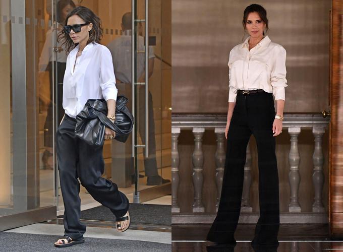 So sánh cách mix quần cạp trễ, giày bệt và quần cạp cao, giày cao gót, tỷ lệ cơ thể của bà Becks khác biệt hoàn toàn, chứng minh độ quan trọng của việc chọn trang phục trong việc cân đối vóc dáng.