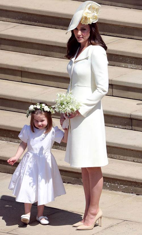 Nữ công tước xứ Cambridge và Công chúa Charlotte trong đám cưới Harry - Meghan hồi tháng 5/2018. Ảnh: PA