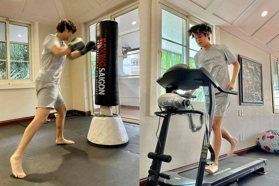 Chàng trai trẻ chăm chỉ tập luyện thể thao mỗi ngày tại nhà, giúp rèn luyện sức khỏe.