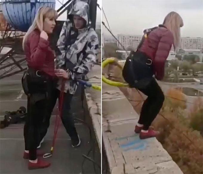 Khoảnh khắc trước khi nhảy của Yevgenia ở trên nóc khách sạn tại thành phố Karaganda, Kazakhstan hôm 10/10. Ảnh cắt từ video