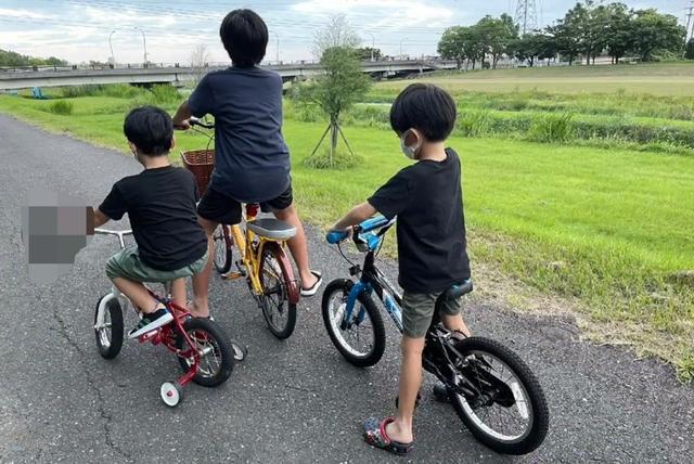 Ba con trai của Lâm Chí Dĩnh, trong đó cặp sinh đôi đang theo học bậc tiểu học.