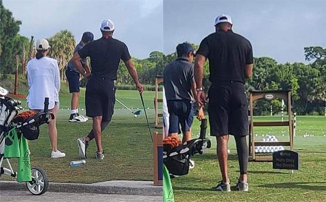 Tiger Woods và bạn gái tới sân golf xem con trai thi đấu hôm cuối tuần. Ảnh: Twitter Twlegion