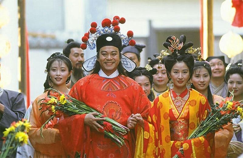 Âu Dương Chấn Hoa và Quan Vịnh Hà thắng giải Cặp đôi oan gia hài hước năm 1997 nhờ phim Thăng Bình công chúa. Ảnh: HK01