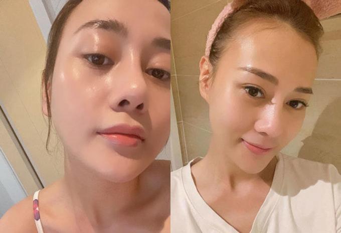 Những khi khoe mặt mộc, Phương Oanh được khen với làn da trong mướt, căng bóng nhờ chú trọng việc làm sạch da thật sâu sau mỗi lần trang điểm.