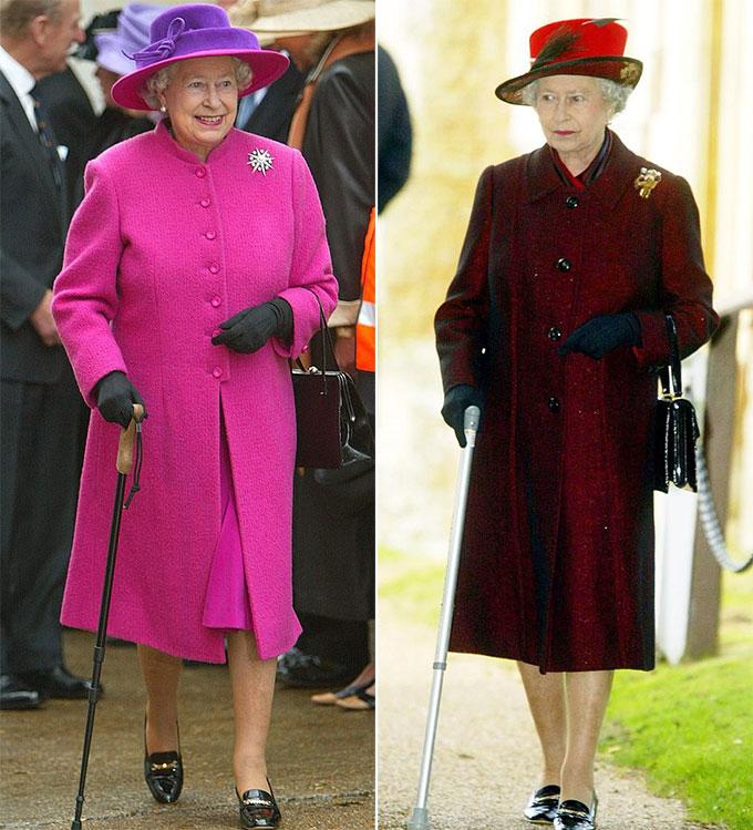 Nữ hoàng Elizabeth II rời Nhà thờ St Mary Magdalene tại Sandringham ở Norfolk vào ngày 25/12/2003, sau lễ Giáng sinh (ảnh phải). Và Nữ hoàng thăm tàu Queen Mary 2 vào ngày 8/1/2004 tại Southampton (ảnh trái).